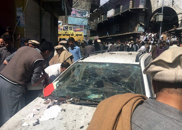 A car bomb tore through a market in Parachinar, officials said, in an attack claimed by the Taliban. PHOTO: AFP