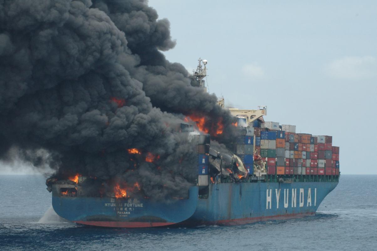 sri lanka battles fire aboard mega container vessel