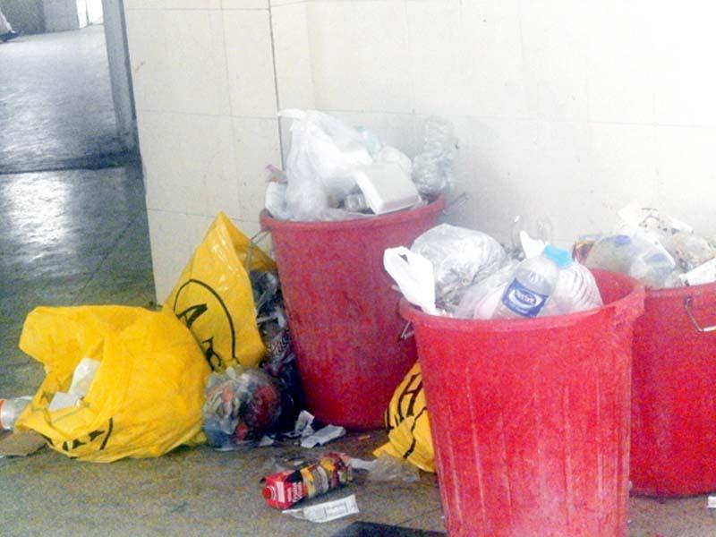 strike woes waste piles up in hazara hospitals