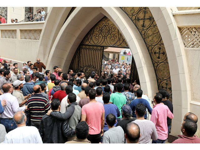 egyptians gather in front of a coptic church that was bombed on sunday in tanta egypt april 9 2017 photo reuters