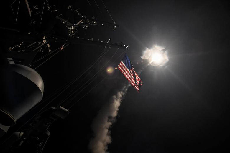 FILE PHOTO: U.S. Navy guided-missile destroyer USS Porter (DDG 78) conducts strike operations while in the Mediterranean Sea which U.S. Defense Department said was a part of cruise missile strike against Syria  on April 7, 2017.  Ford Williams/Courtesy U.S. Navy. PHOTO: REUTERS