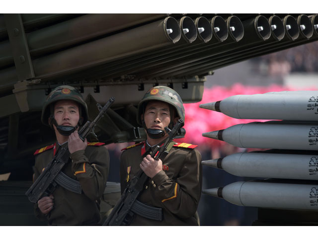 members of the korean people 039 s army kpa ride on mobile missile launchers during a military parade marking the 105th anniversary of the birth of late north korean leader kim il sung in pyongyang on april 15 2017 photo afp