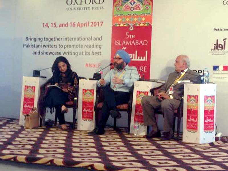 Amardeep Singh speaks at a session at ILF. PHOTO: EXPRESS