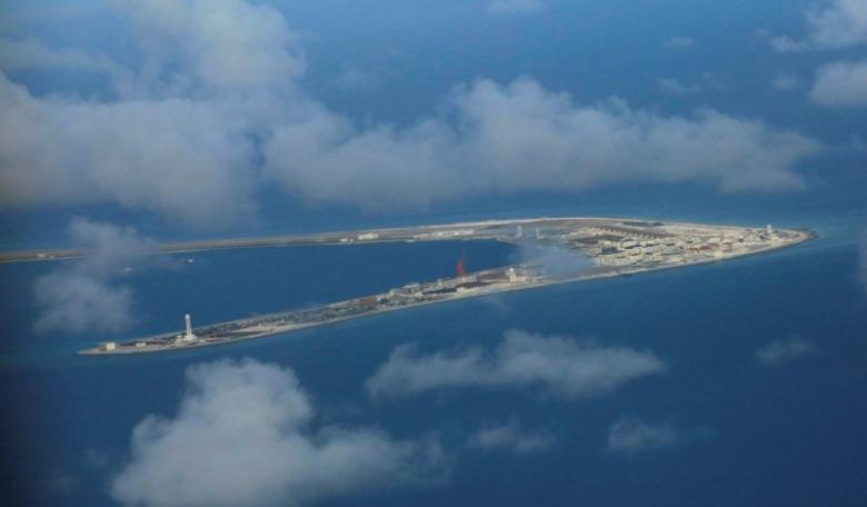 An aerial view of China occupied Subi Reef at Spratly Islands in disputed South China Sea April 21, 2017. PHOTO: REUTERS