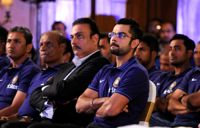 A file photo of Virat Kohli and Ravi Shastri attending an event. PHOTO COURTESY: BCCI
