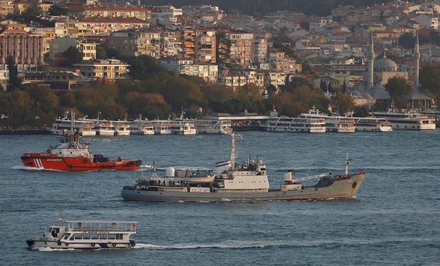 russian spy ship sinks off turkey after collision
