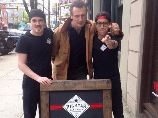 liam neeson stops by restaurant offering him free food
