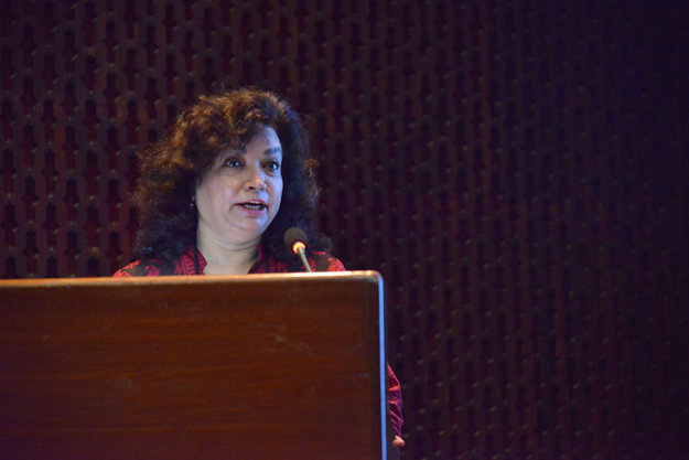 director of the museum and art gallery department state bank of pakistan asma ibrahim spoke on the occassion photo courtesy akuh
