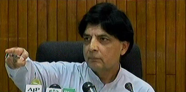 federal minister for interior chaudhry nisar ali khan addressing a press conference in islamabad on thursday may 11 2017 express news screengrab