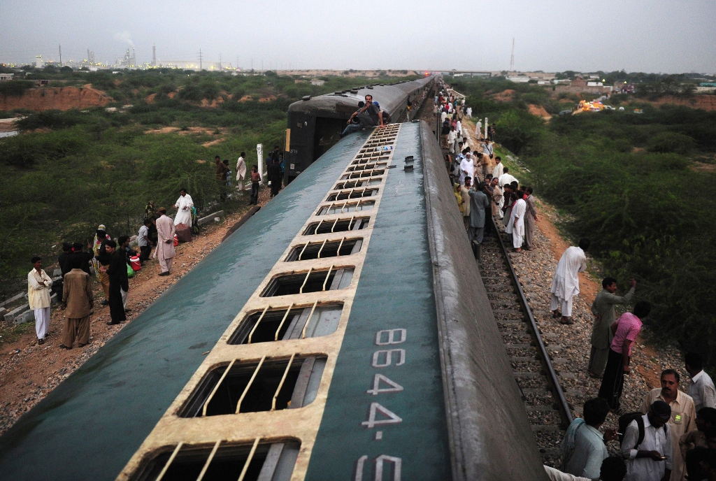 two injured 24 bogies derailed as two freight trains collide in jamshoro