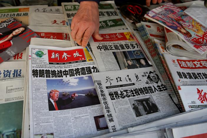 Chinese newspapers  at a newsstand in Shanghai, China January 21, 2017. PHOTO: REUTERS