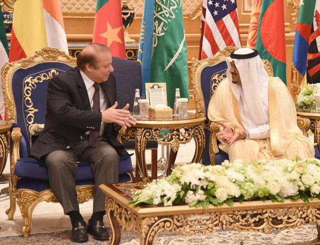 Prime Minister Nawaz Sharif in a meeting with Riyadh Governor Faisal bin Bandar Al Saud on Sunday, May 21, 2017. PHOTO: PML-N