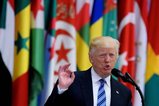 US President Donald Trump speaks during the Arabic Islamic American Summit at the King Abdulaziz Conference Center in Riyadh. PHOTO: AFP