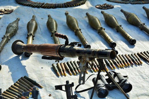 The terrorists had stashed away two suicide vests, nine missiles, a rocket launcher, two mortar shells, 100 grenades, 26 detonators and 30 kilogrammes of explosives along with remote-controlled devices. PHOTO: Express/File