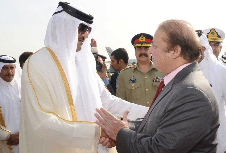 prime minister muhammad nawaz sharif seeing off emir of qatar h h sheikh tamim bin hammad al thani at noor khan airbase rawalpindi on 24th march 2015