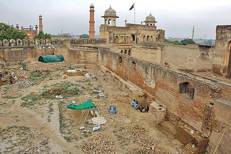 conservation excavation work of royal kitchen begins at lahore fort