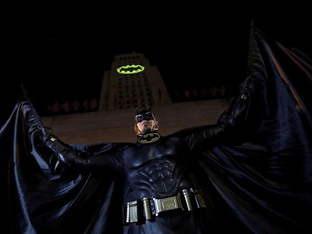los angeles lights up city hall with batman signal