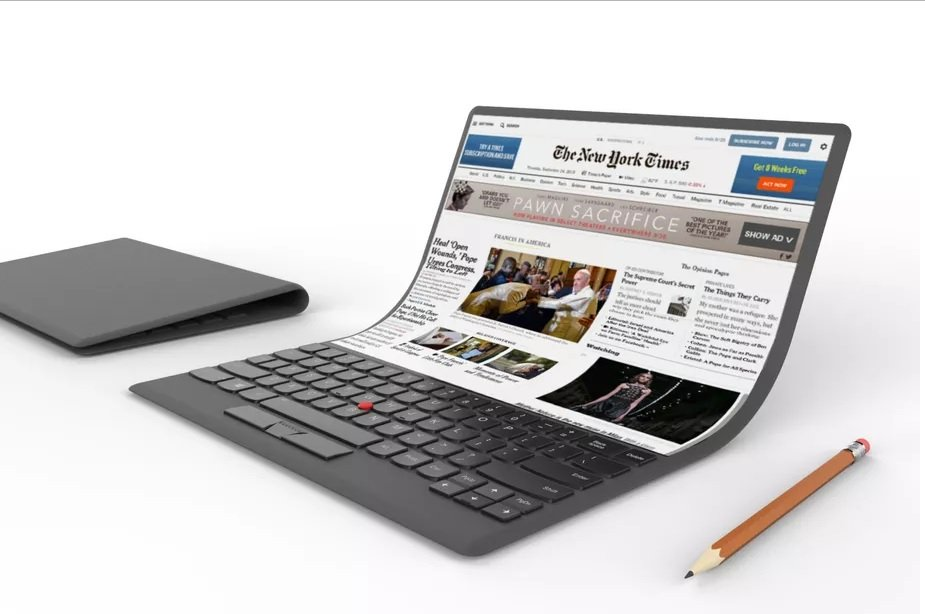 lenovo shows off new concept laptop with foldable screen