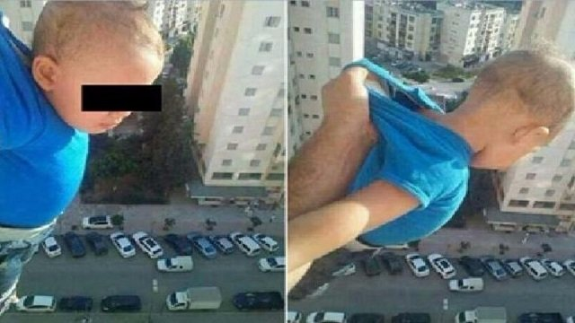 man jailed for dangling baby from window to get facebook likes
