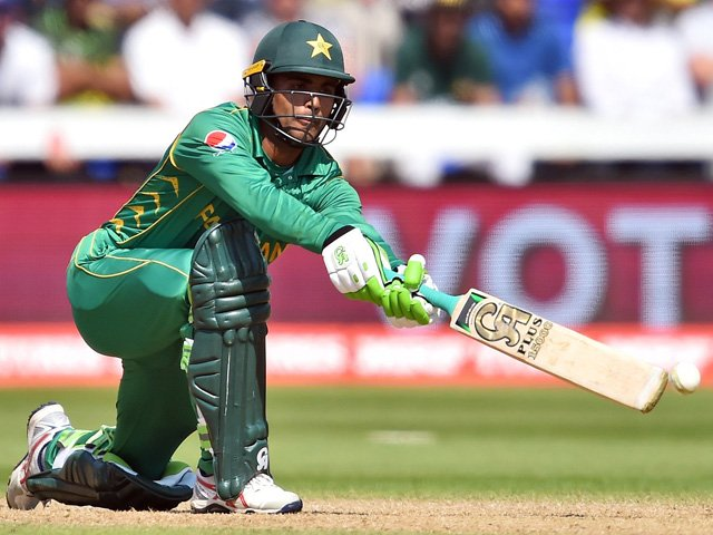 Fakhar Zaman plays a shot during the ICC Champions Trophy semi-final cricket match between England and Pakistan in Cardiff on June 14, 2017. PHOTO: AFP