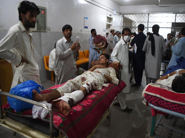 people injured in the twin blasts in parachinar being treated at a hospital in peshawar on friday june 23 2017 photo afp