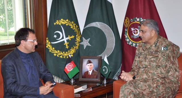 army chief general qamar javed bajwa in a meeting with afghan ambassador to pakistan omar zakhilwal photo ispr