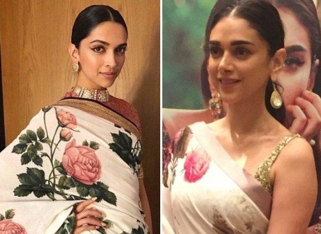 deepika padukone or aditi rao hydari who looks better in these similar sarees