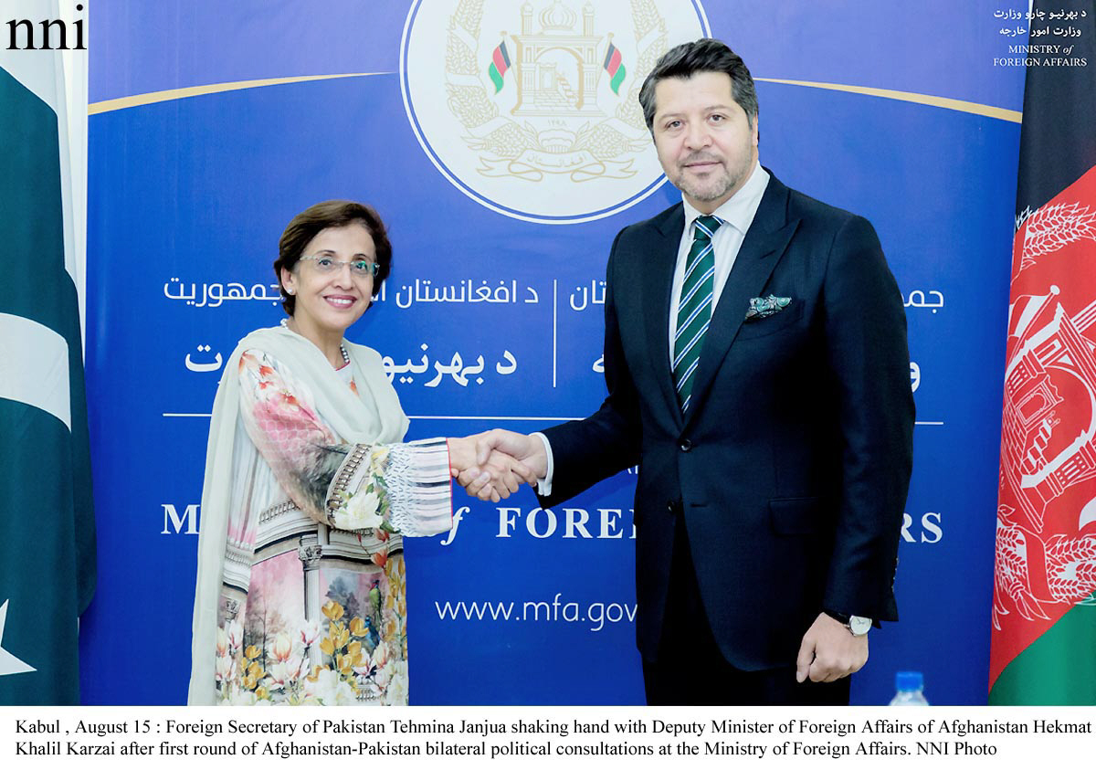 Foreign Secretary Tehmina Janjua is greeted by Afghan Deputy Foreign Minister Hekmat Khalil Karzai after first round of Pak-Afghan bilateral political consultation at the Ministry of Foreign Affairs no August 15, 2017. PHOTO: NNI
