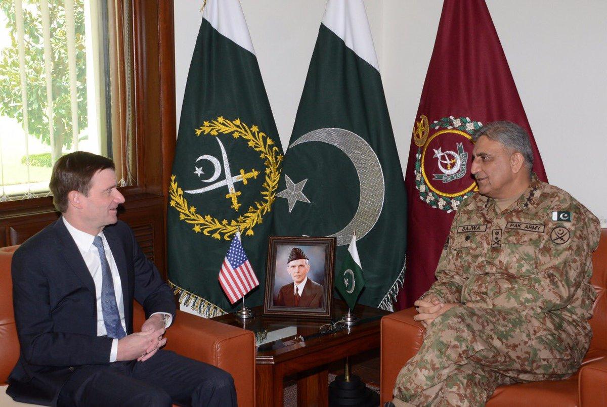 US Ambassador David Hale meets army chief General Qamar Bajwa at the GHQ in Rawalpindi on Wednesday. PHOTO: ISPR
