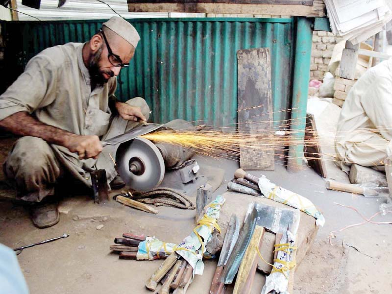 business of blacksmiths knife sharpeners shines in k p ahead of eid