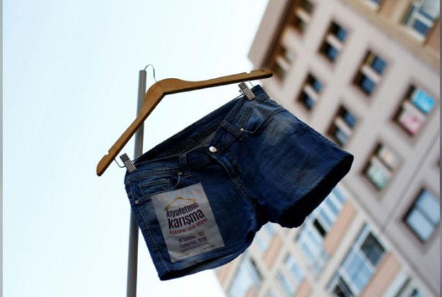 Shorts on display in Turkey protest. PHOTO: REUTERS