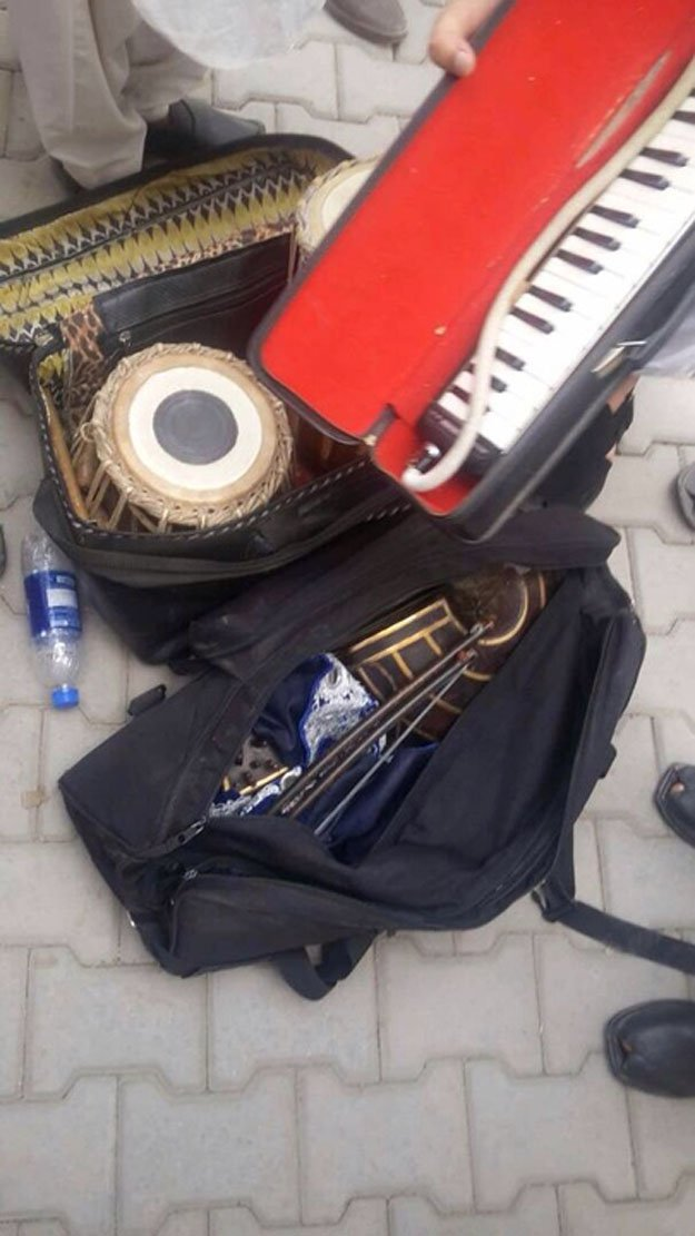 khyber agency clerics set musical instruments on fire