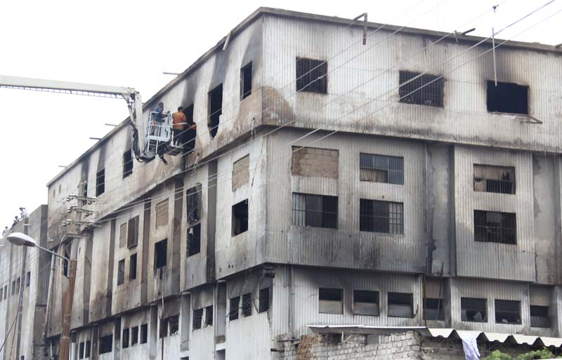 two hundred and sixty people were killed in the fire at ali enterprises garments factory in baldia town on september 11 2012 the incident earlier deemed an accident in which casualties multiplied due to the lack of safety measures was recently termed an act of arson over non payment of extortion photo file
