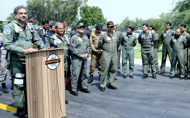 pm lauds paf s high morale flies f 16