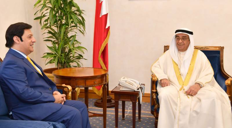 Pakistan's ambassador to Bahrain Javed Malik with Bahrain's Deputy PM Sheikh Mohammad Bin Mubarak Al Khalifa. PHOTO: RADIO PAKISTAN