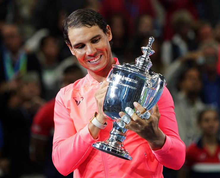 Rafael Nadal of Spain holds the US Open trophy after defeating Kevin Anderson of South Africa in their US Open Men's Singles Final match Septmber 10, 2017 at the Billie Jean King Stadium National Tennis Center in New York. PHOTO: AFP