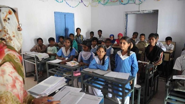 students of the government ubedia high school in bhopal attend classes photo hindustan times
