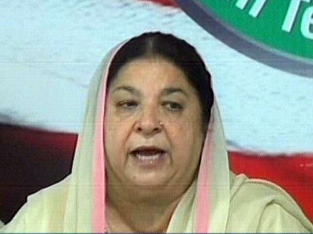pti leader dr yasmin rashid addressing a press conference in lahore on monday september 18 2017 express news screengrab