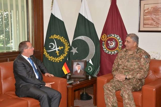 German Ambassador Martin Kobler and army chief Gen Qamar Javed Bajwa discuss regional security at GHQ.PHOTO: ISPR
