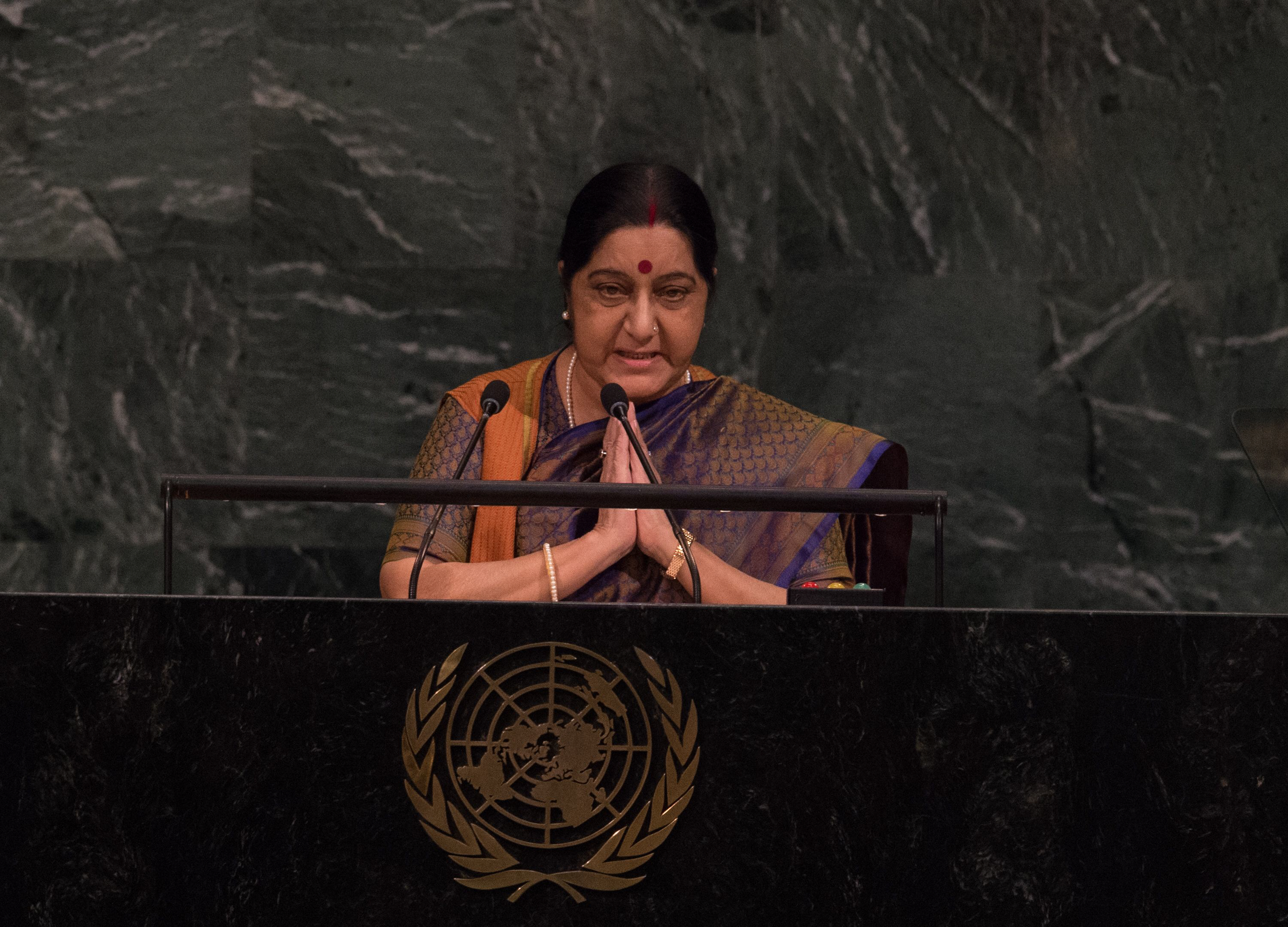 India Minister of External Affairs Sushma Swaraj addresses the 72nd Session of the United Nations General assembly at the UN headquarters in New York on September 23, 2017. PHOTO: AFP