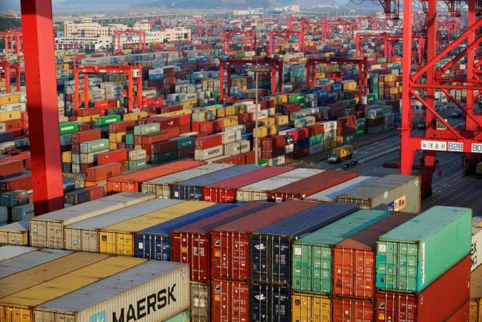Container boxes are seen at a Port. PHOTO: REUTERS