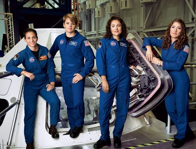 Astronauts Nicole Aunapu Mann, Anne McClain, Jessica Meir, and Christina Hammock Koch, photographed at Nasa's Johnson Space Centre in Houston. PHOTO: Nasa/File