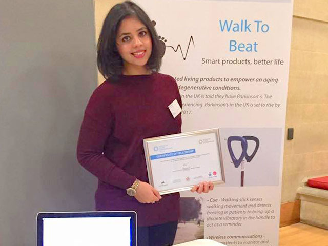 pakistani student in uk of smart walking stick for parkinson s patients fame plans more products for elderly