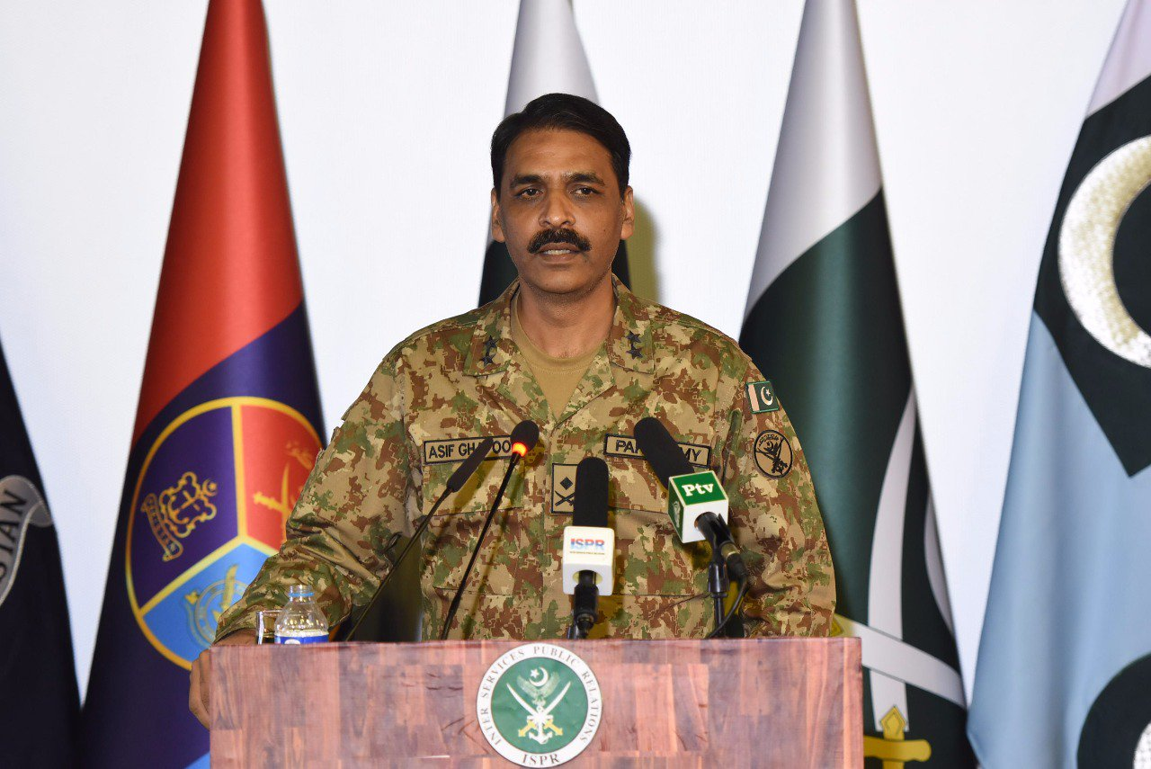 In this file photo, DG ISPR Maj Gen Asif Ghafoor addresses a press conference in Rawalpindi. PHOTO: ISPR