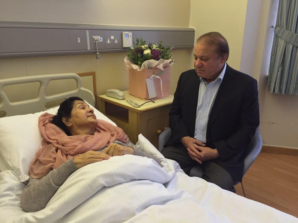 Kulsoom Nawaz with her husband Nawaz Sharif at a hospital in London. PHOTO: MARYAM NAWAZ/TWITTER