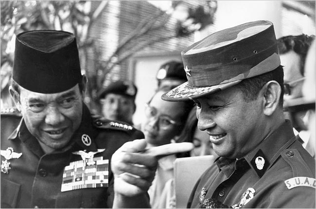 president sukarno wags a finger at general suharto in 1966 months before suharto would topple sukarno photo afp