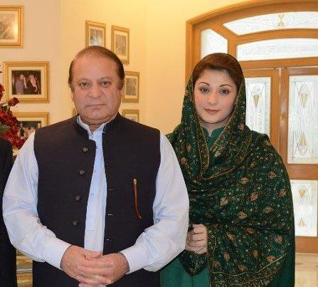Former prime minister Nawaz Sharif with his daughter Maryam Nawaz. PHOTO: ONLINE