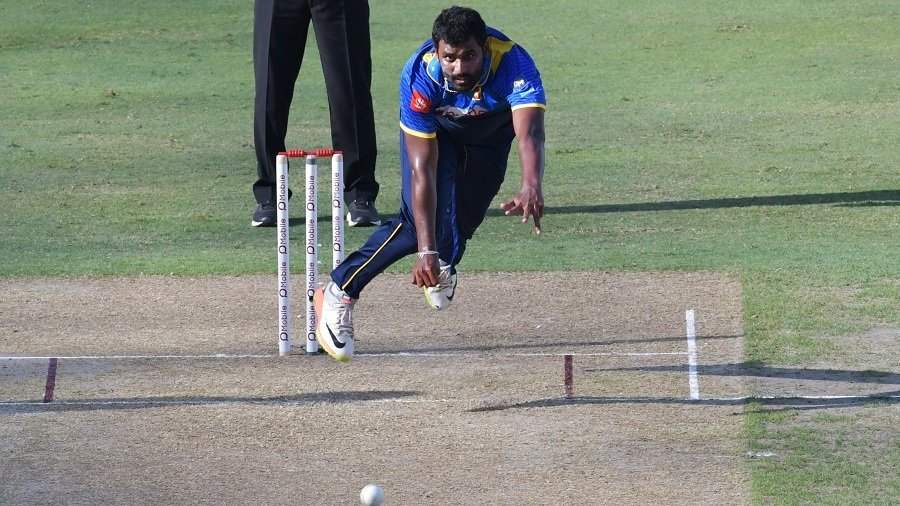 sri lanka 039 s thisara perera bowls on pakistan 039 s fakhar zaman during the first one day international odi cricket match between sri lanka and pakistan photo afp