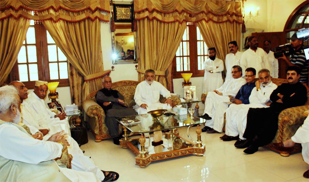 A meeting of various anti-PPP political leaders was held at Kingri House, the residence of Pir Pagara, on Sunday. PHOTO: ONLINE