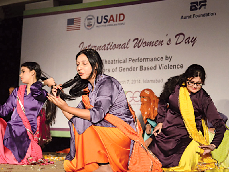Survivors of gender-based violence narrating personal experiences in a play. PHOTO: INP